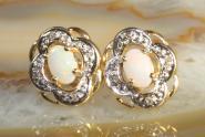 Opalohrstecker mit Diamanten Gold 585