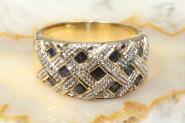 Saphir Ring Gold 585 mit Diamanten