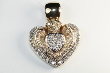 Herz Clip Anhänger Diamanten  Gold 585