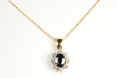Saphir Anhänger mit Diamanten & Kugelkette Gold 750