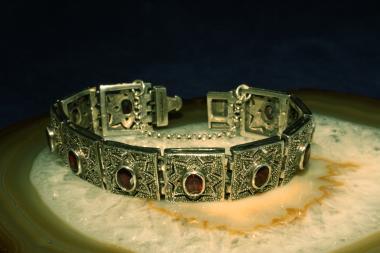 Armband Silber 925  mit Granat und Markasit