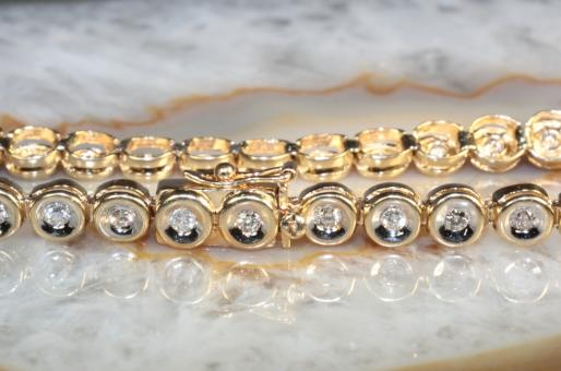 Tennisarmband 43 Brillanten Gold 585  20,5 cm