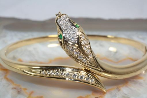 Schlangen Armreif Brillanten Smaragde Gold  585