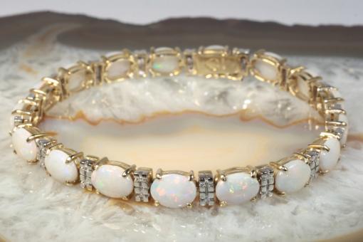 Opal Armband 34 Diamanten Gold 585