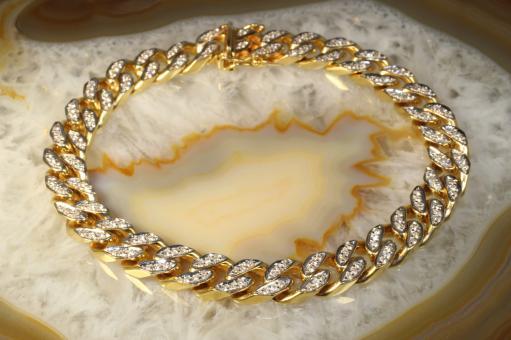 Panzer Armband Brillanten Gelbgold 585
