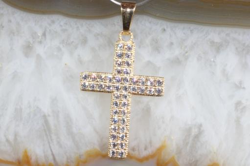Kreuzanhänger Gold 750 Zirkonia