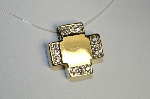 Kreuzanhänger Gleiter mit Diamanten Gold 585