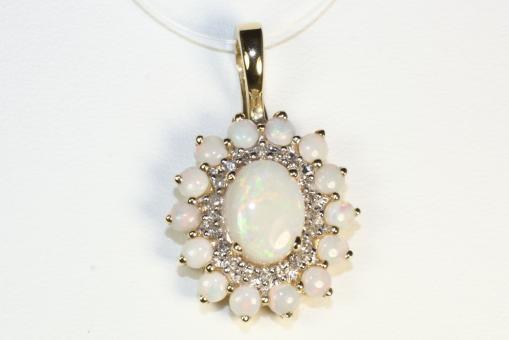 Opal Clip Anhänger Diamanten Gold 585