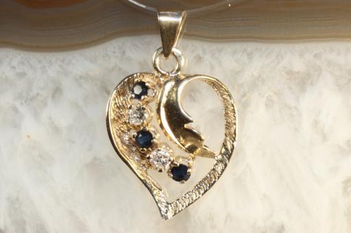 Herzanhänger Brillanten Saphire Gold 585