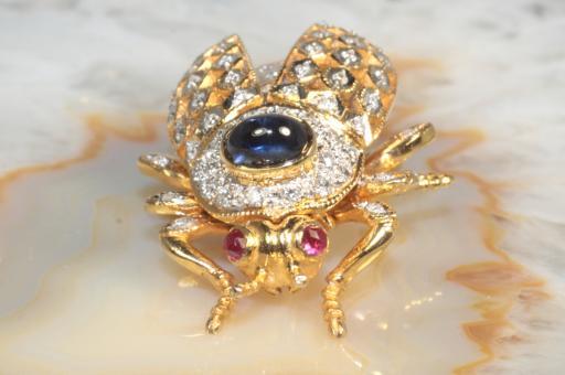 Brosche Käfer Insekt Brillanten Saphir Rubine Gold 750