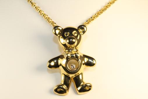CHOPARD Bär Brillantanhänger Happy Diamonds mit Kette Gold 750