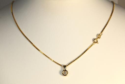 Brillant Anhänger und Veneziakette Gold 585