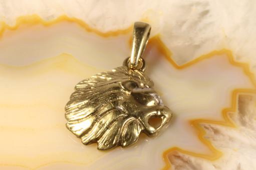 Löwenkopf Anhänger Diamant Gold 333