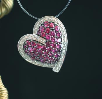 Anhänger Silber 925 mit Diamanten und roten Steinen