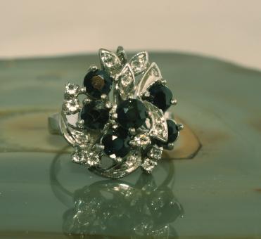 Silber 925 Saphir und Weisstopas