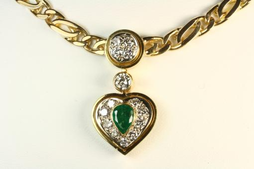 Smaragd Collier Brillanten Gold 750
