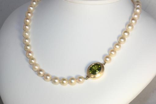 Perlenkette mit Peridot Gold 750