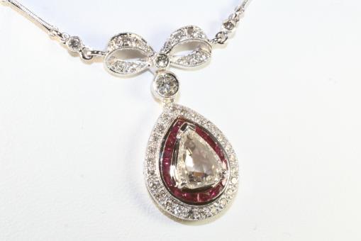 Collier Diamant Brillant Rubin Gold 750