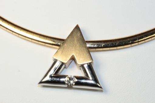 Omega Halsreif Brillant Anhänger Gold 750