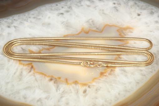 Schlangenkette 50 cm x 1,5 mm Gelbgold 585