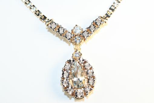Collier Aquamarine Diamanten Gold 585