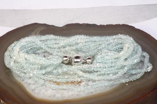 Aquamarin Kette 9-reihig Weißgold 750