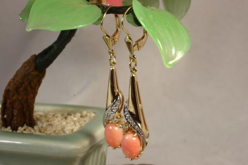 Ohrhänger Koralle Brillanten Gold 585