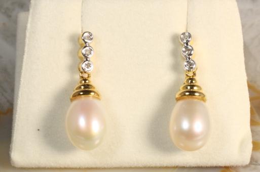 Ohrhänger Perle Diamanten Gold 333