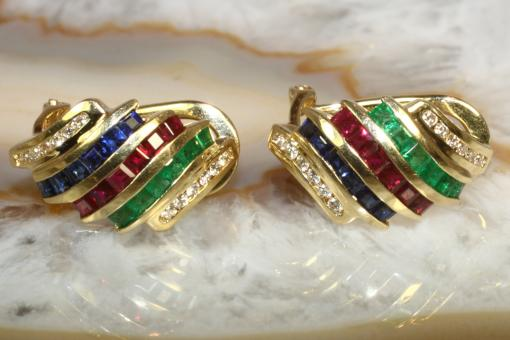Ohrstecker Brillant Smaragd Saphir Rubin Gold 750