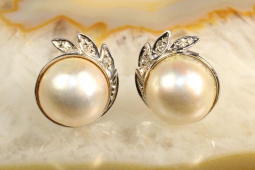 Mabe Perle  Ohrstecker mit Diamanten Weißgold 585