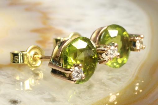 Peridot Ohrstecker Brillanten Gold 585