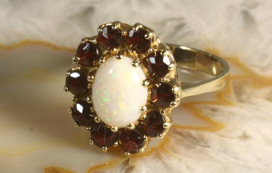 Ring Opal & Granate Gold 416 10k
