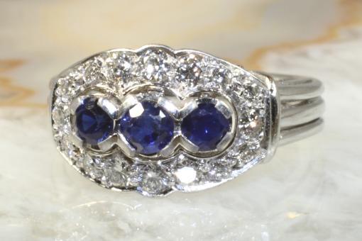 Saphir Ring Brillanten 0,50 ct Weißgold 750