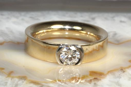 Solitär Brillantring Gold 585 0,83 ct DPL Expertise
