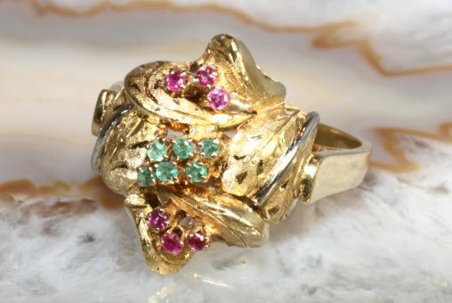 Vintage Ring massiv Rubin Smaragd Gold750