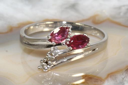 Rubin Ring Diamanten Weißgold 585