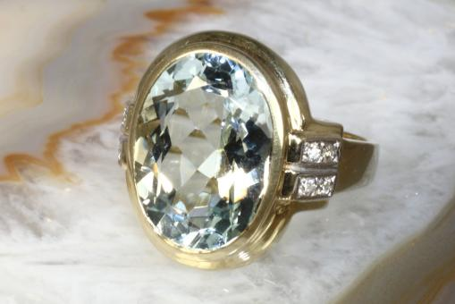 Aquamarin Ring  Brillanten Gelbgold  585