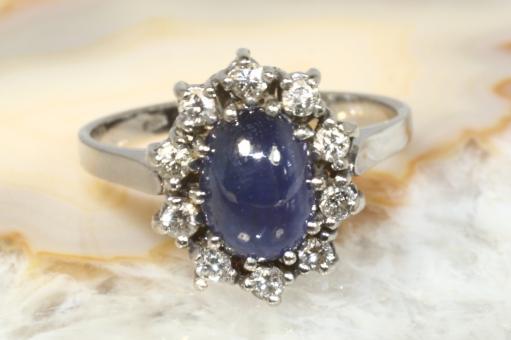 Saphir Ring Cabochon  Brillanten Gold 585
