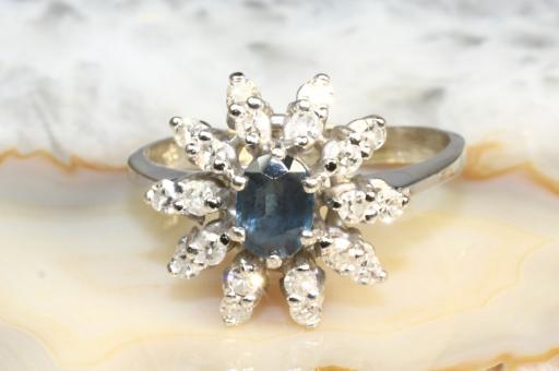 Saphir Ring Diamanten ca. 0,34  ct.  Gelbgold 585