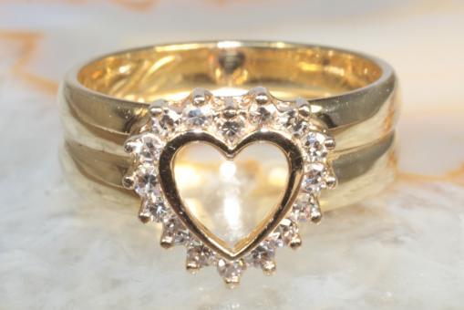 Herzring Diamanten 0,25 ct. Gold 750