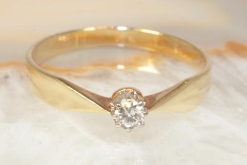 Brillantring 0,10 ct Gelbgold 585