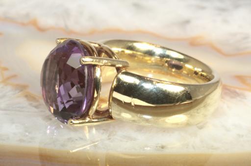Amethyst Ring massiv Gelbgold 585