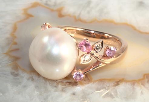 Schoeffel Perlenring Brillanten Saphire Roségold 750