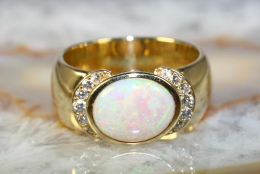 Opal Ring Brillanten Gelbgold 585