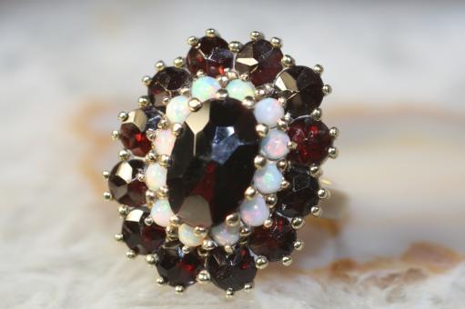 Granat Ring Opale Gold 333