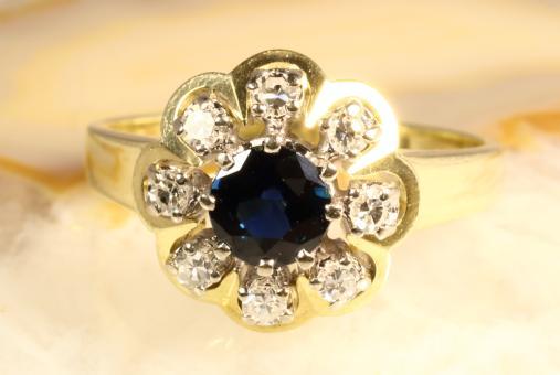 Saphir Ring Diamanten Gelbgold 585