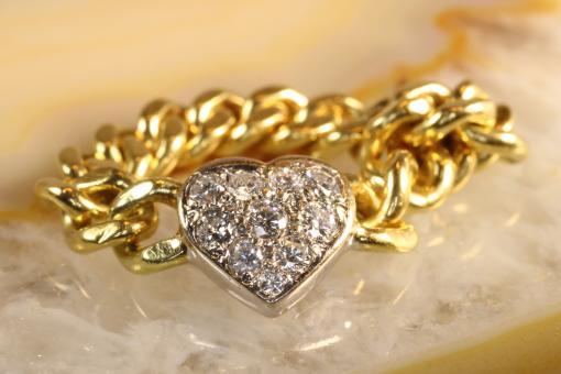 Kettenring Herz Brillanten Gold 585