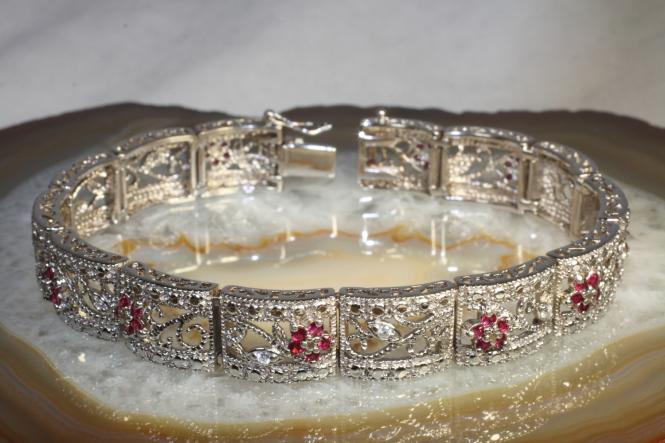 Silber Armband 925 Zirkonia 21,5 cm