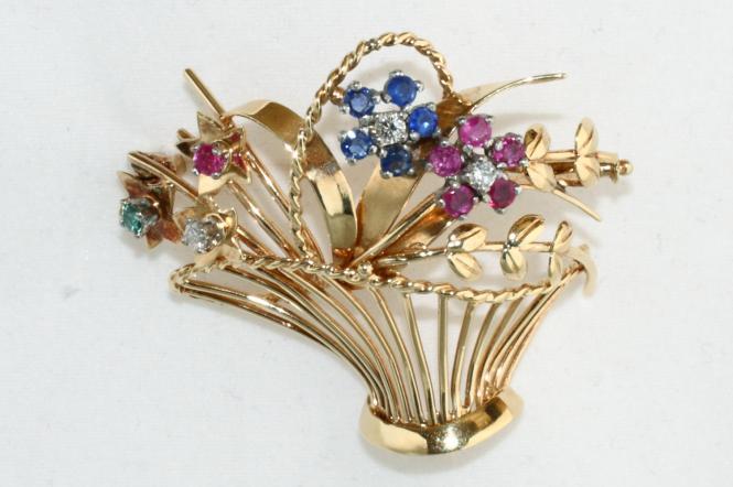 Blumenkorb Brosche Gold 585