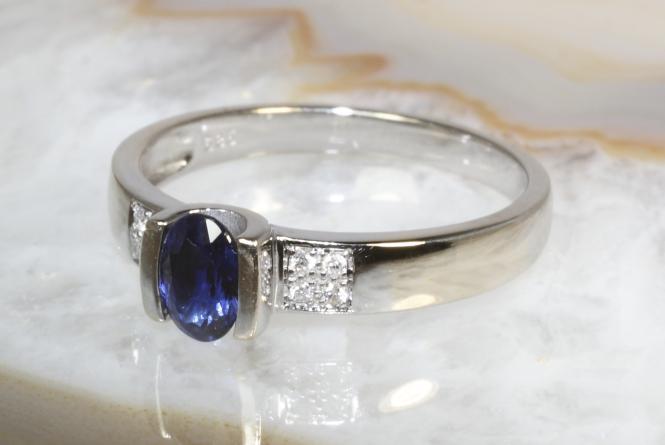 Saphir Ring Brillanten Weißgold 585